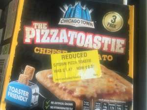 X3 pack chicago town cheese & tomato pizza toasties (dated may 2019) reduced to £0.37p instore at morrsions