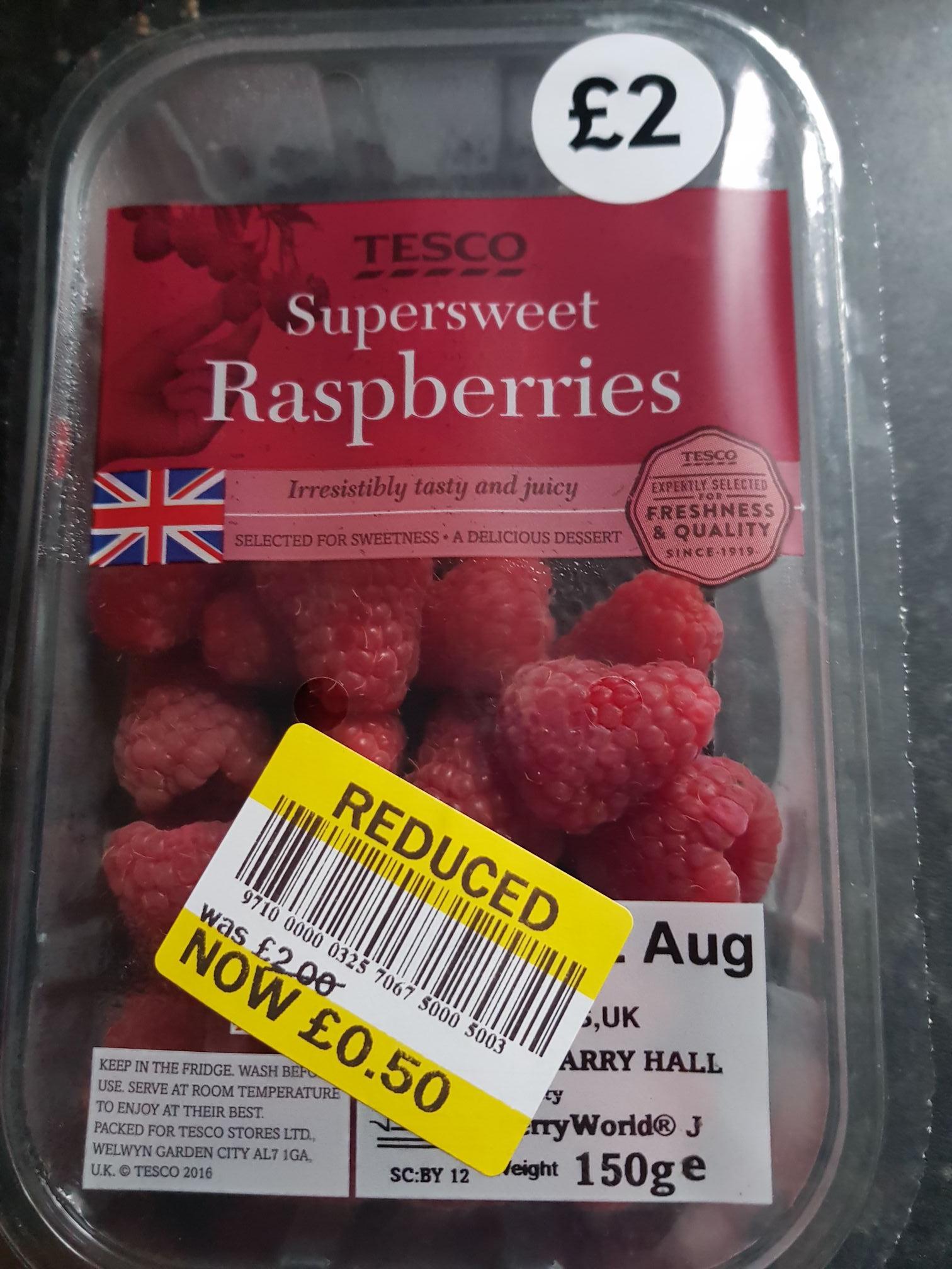 Super sweet British raspberries - 50p instore @ Tesco