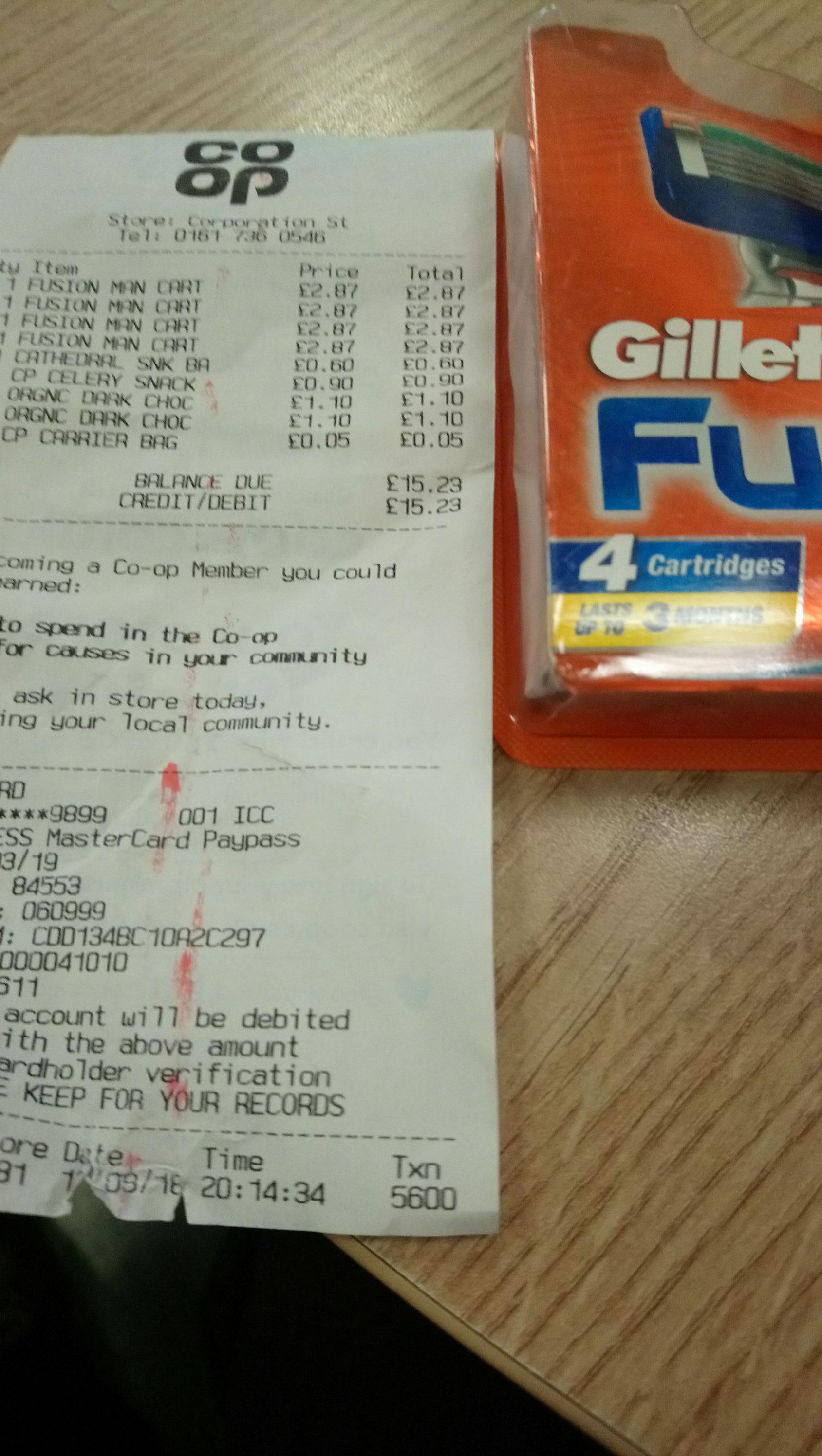 Gillette Fusion Razor Blades 4s Co-op in store (Printworks, MCR) - £2.87