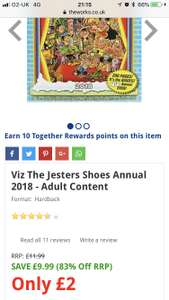 Viz - The jesters shoes was £9.99 now £2 @ The Works (free C&C)
