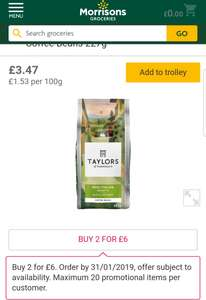 Taylors coffee Beans 2 for £6 @ Morrisons