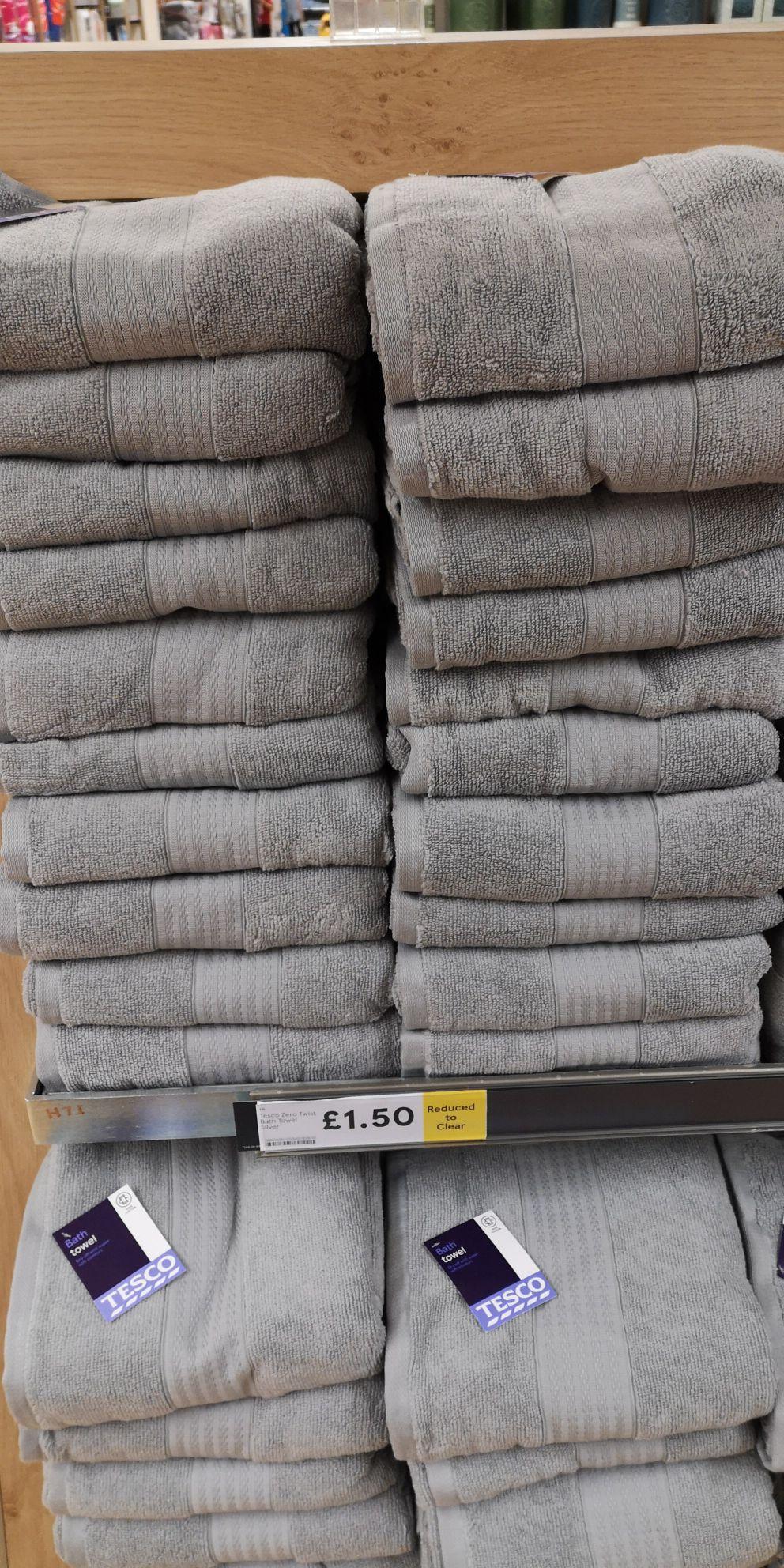 Tesco zero twist towels. Bath sheet £.2.50, bath towel £1.50 and hand towel £1 @ tesco