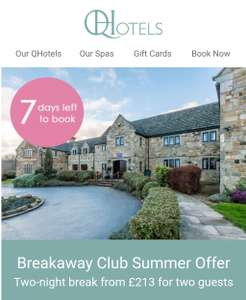 2 night break with dinner and extras £213 for two people @ Qhotels