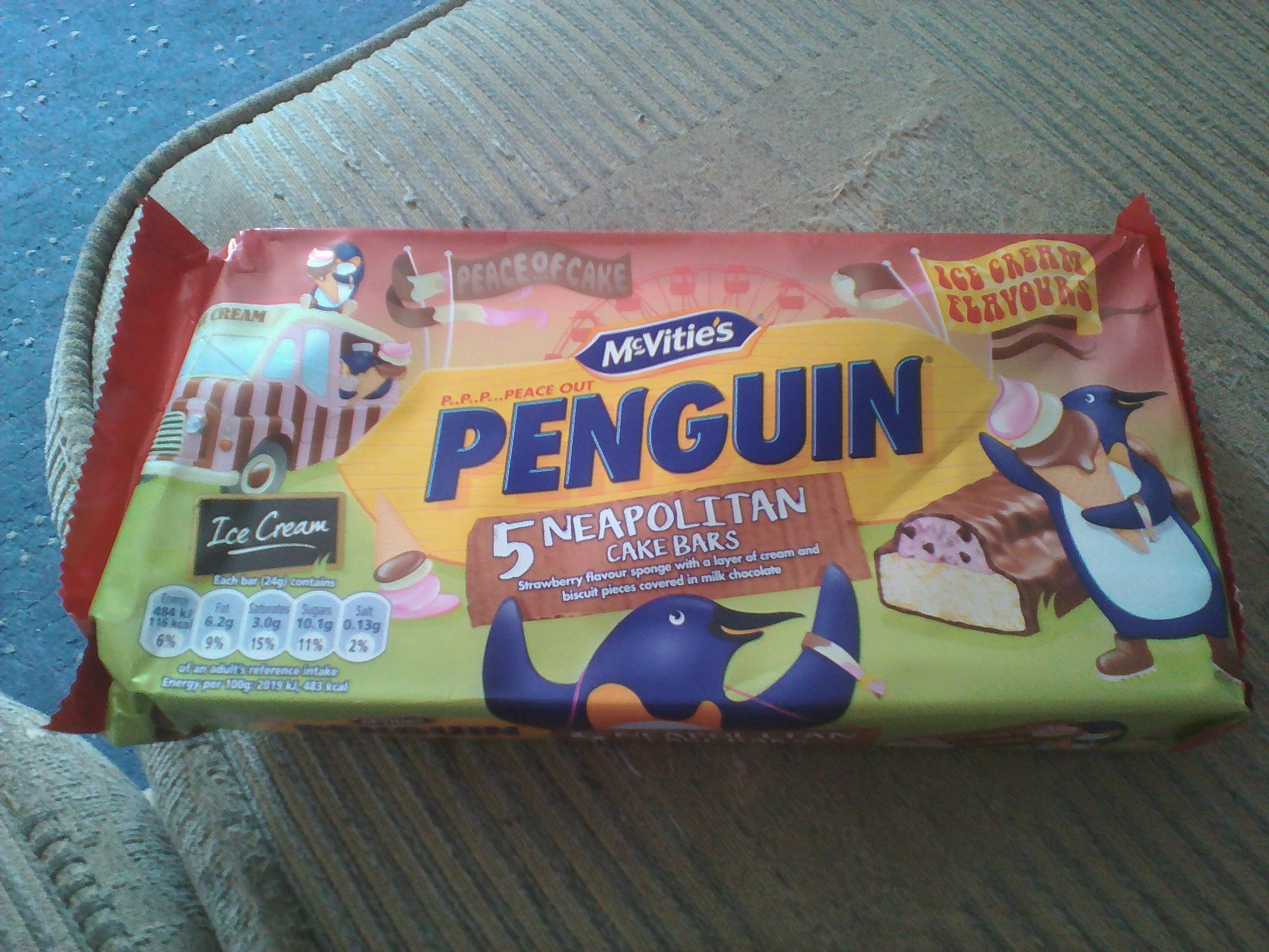 McVities Penguin Neapolitian Cake Bars 5 pack-2 packs for £1 at Heron Foods.