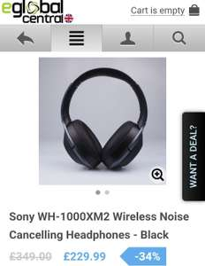 Sony WH-1000XM2 Wireless Noise Cancelling Headphones £229.99 -  eglobalcentral or £269.99 from John Lewis with voucher