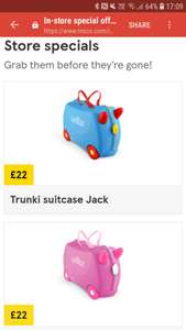 Trunki ride on suitcases Jack and Jill £22 @ Tesco instore