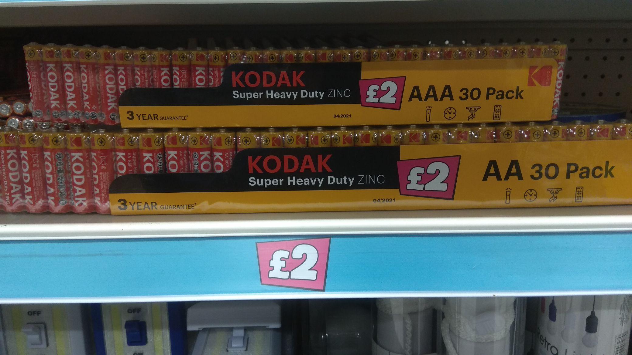 Kodak AA & AAA 30 batteries £2 instore @ Poundland