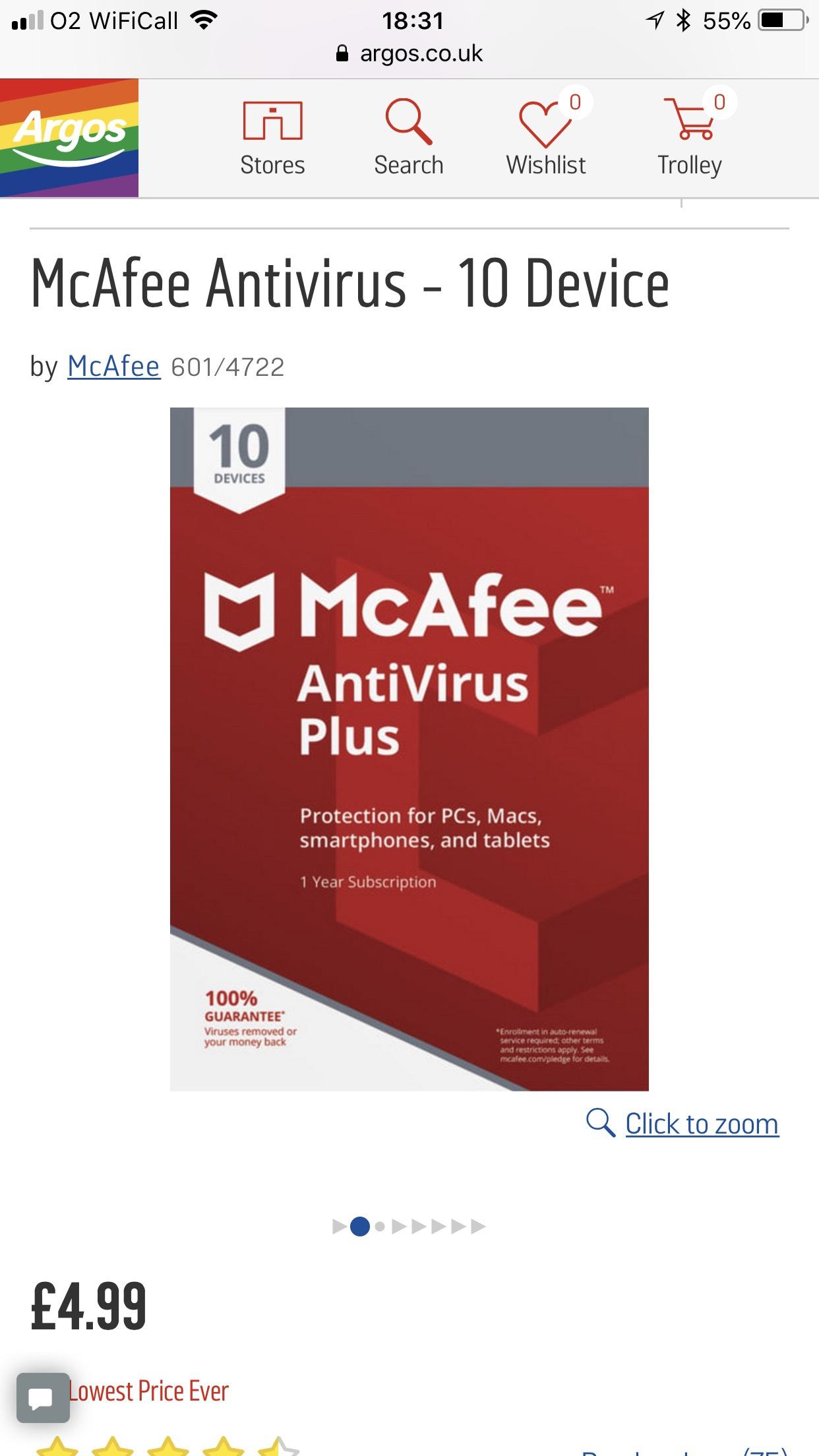 McAfee Antivirus - 10 Device £4.99 @ Argos (C&C)