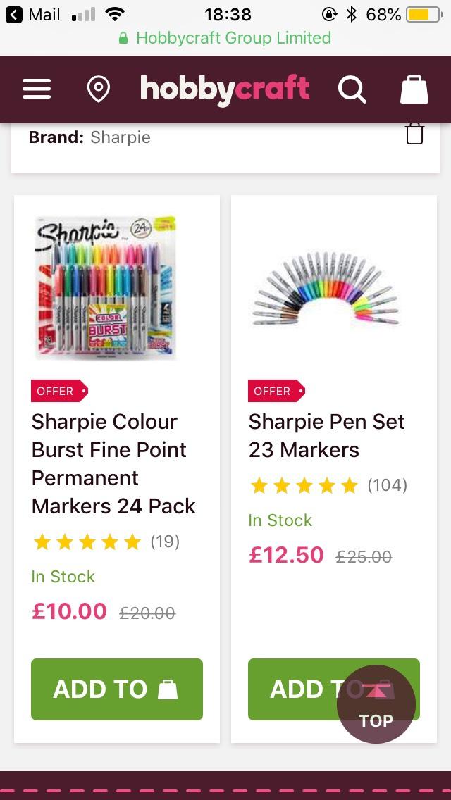 Sharpie pens £12.50 @ Hobbycraft
