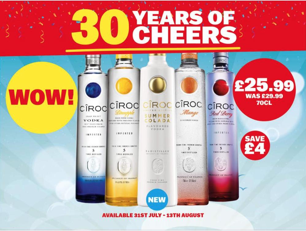 Various Ciroc flavours - £25.99 each @BargainBooze (free C&C)