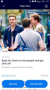 Virgin Trains 25 - 30% off with O2 priority