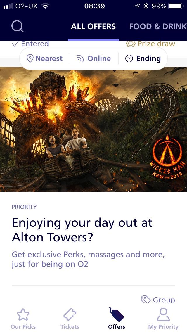 FREEBIES at Alton Towers this week via 02 priority