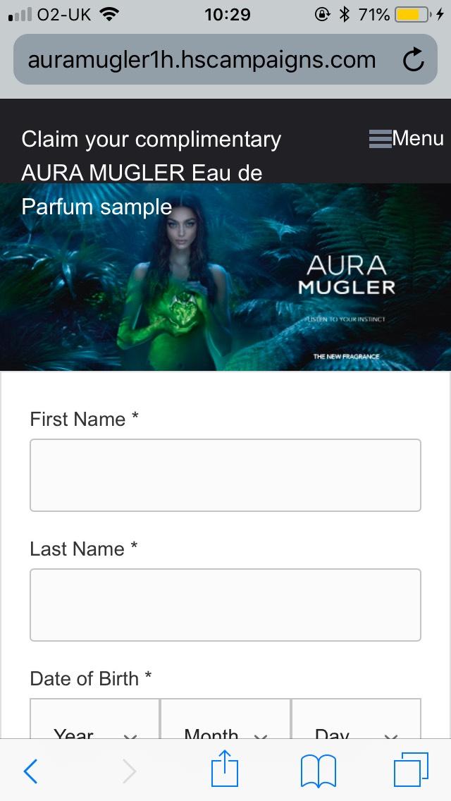 Free Aura Mugler sample