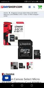 Kingston Canvas Select Micro SD SDXC Memory Card 80MB/s UHS-1 Class 10 With Adapter - 64GB £11.99 @ 7dayshop
