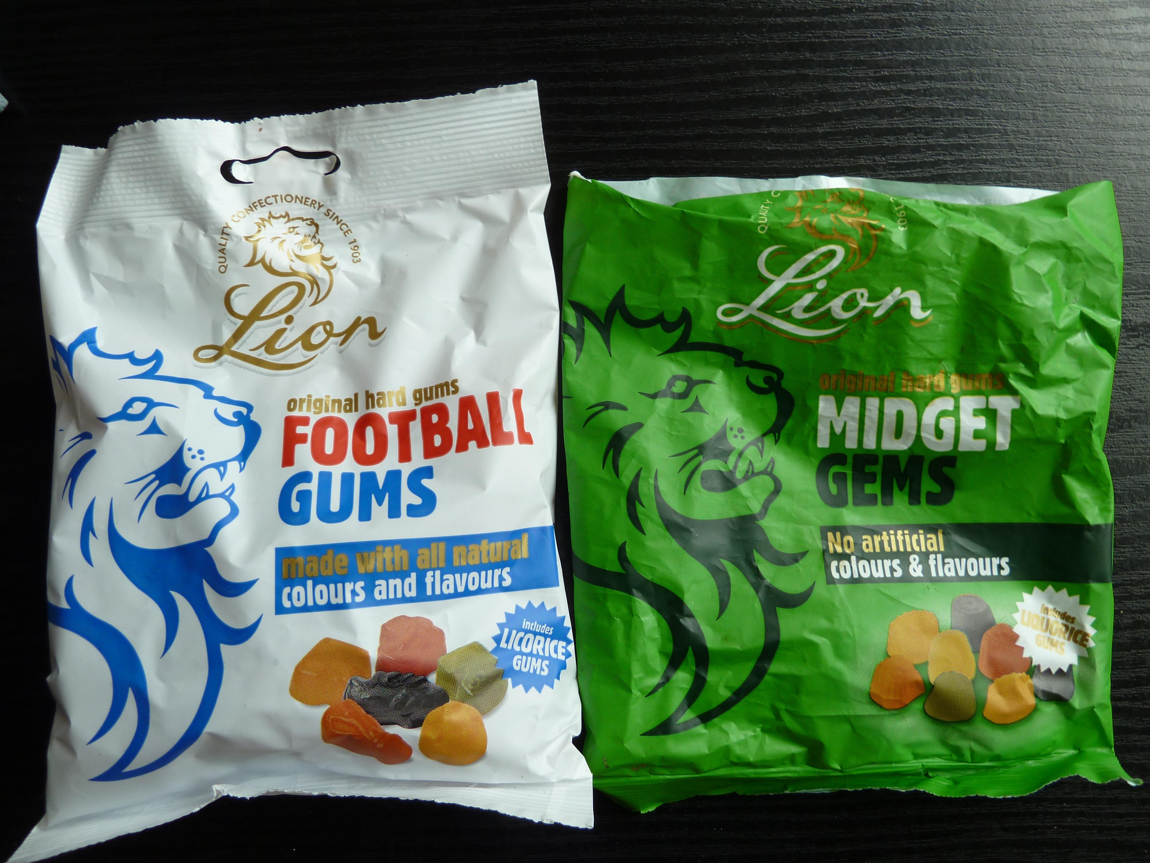 Lion Football Gums and Midget Gems 59p for 190g @ Home Bargains