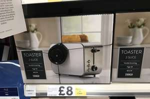 2 slice Tesco toaster Reduced to clear was £16 Now £8  @ tesco