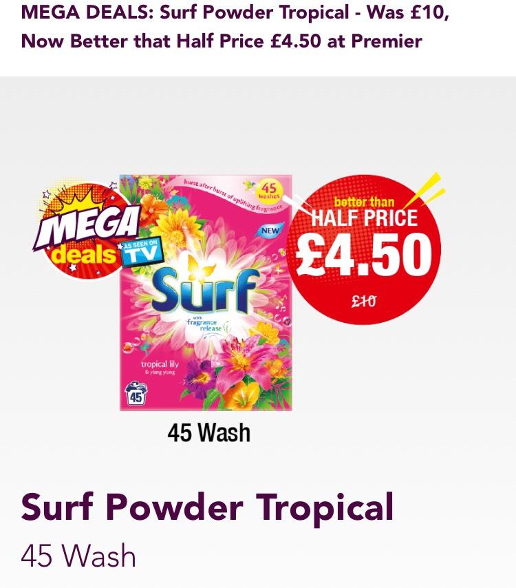 Surf Powder Tropical - 45 wash £4.50 @ Premier Stores