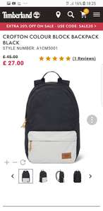 Timberland Backpack £21.60 with code sale20 with free delivery &7% quidco CB @Timberland