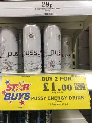 Home Bargains - Pussy Natural Energy drink 2 for £1