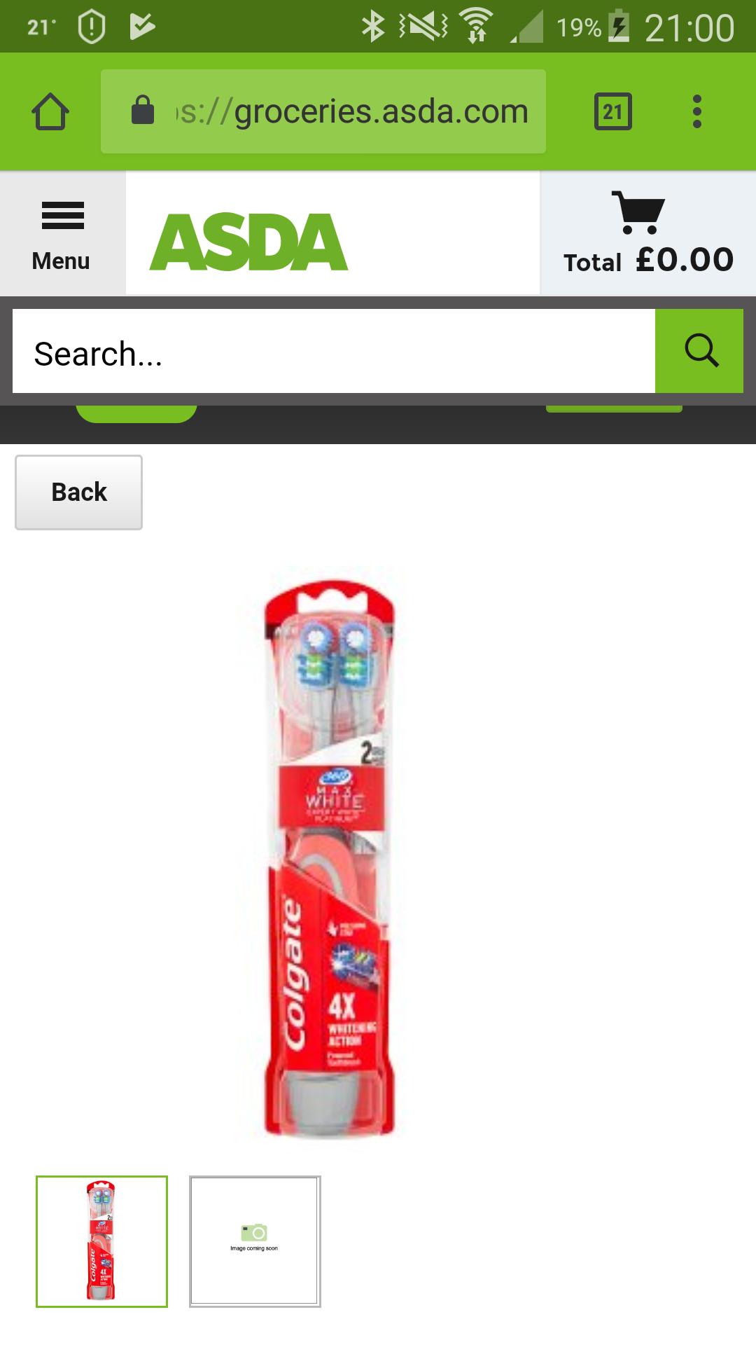 Colgate 360° Max White Expert Platinum Adult Battery Two Head Pack Medium each £3.00, Asda Store