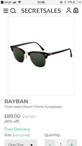 RayBan sunglasses from £85 + free delivery @ Secret Sales
