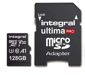 Integral 128 GB premium high speed micro SDXC memory card plus SD adapter with A1 app performance up to 100 MB/s, class 10, UHS-I, U3, V30 £27.99 @ MyMemory Amazon