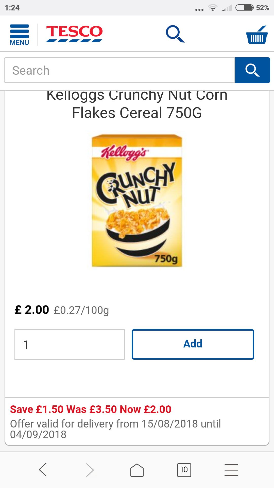 kelloggs crunchy nut cornflakes 750g,  tesco,  £2.00