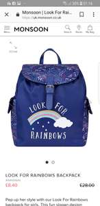 Look for Rainbows £8.40 girls Backpack with 10% code @ Monsoon Free C&C free Delivery for Monsoon member's