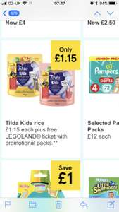 Tilda Kids rice 125g - £1.15 at Tesco. With free kids ticket ( with a paying adult) ticket for legoland