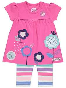 Baby girl 2 Piece Floral Appliqué Dress and Leggings outfit £4 at Asda - free c&c