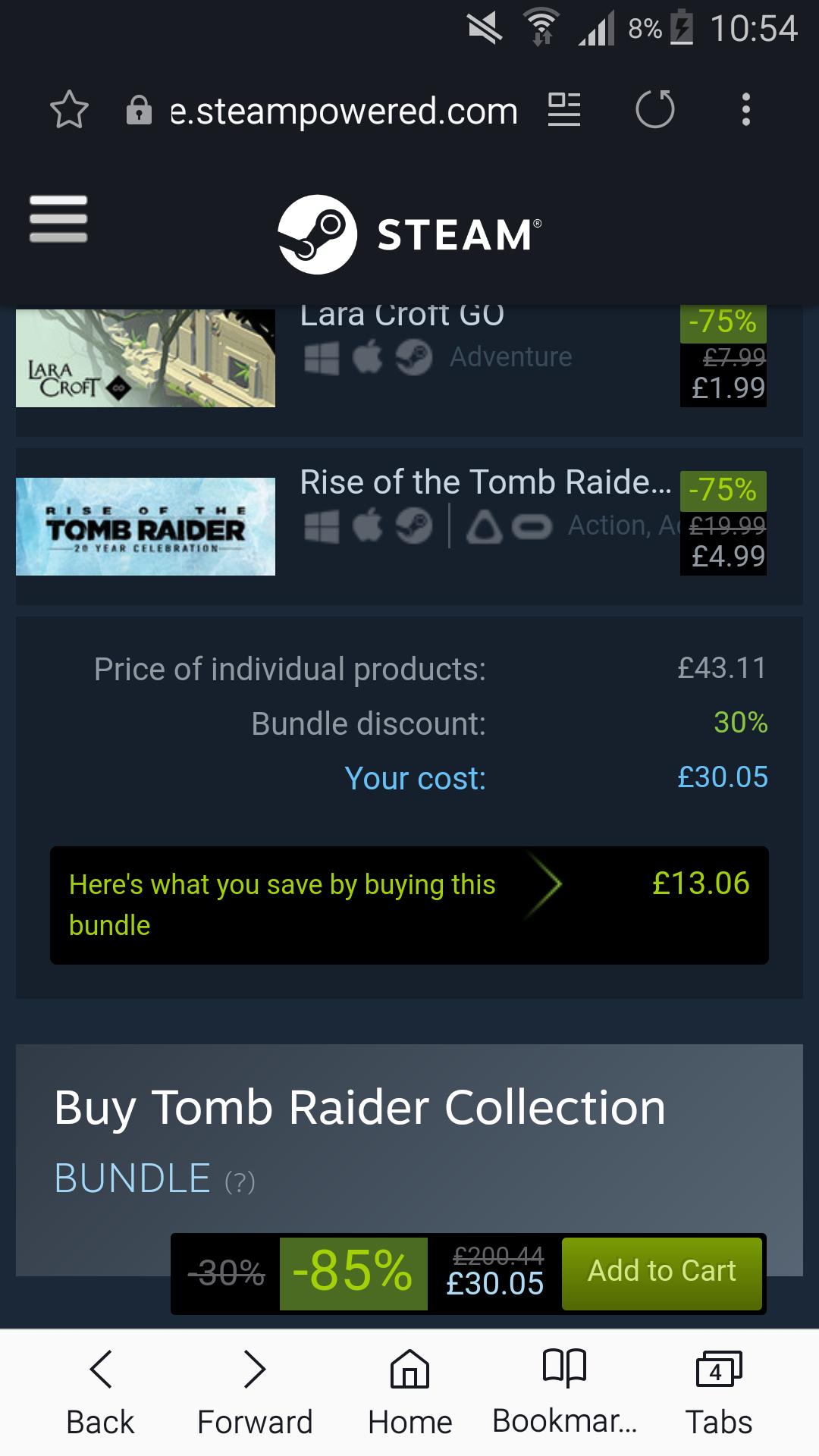-85% on Tomb Raider Collection Bundle £30.05 @ Steam