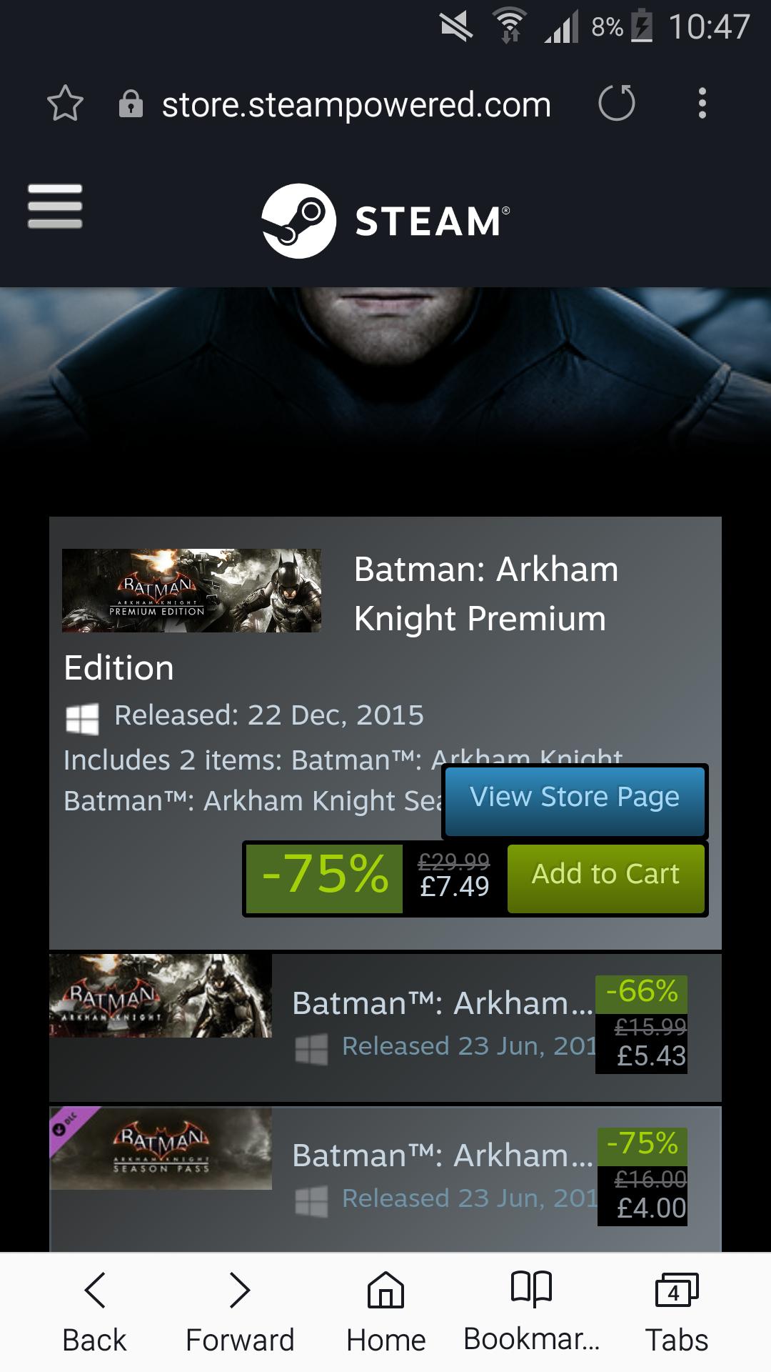 Batman: Arkham Knight Premium Edition £7.49 at Steam