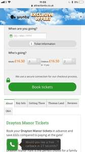 Drayton Manor one day entry ticket £16.50 with wuntu via Attractiontix.