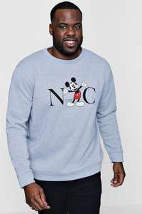 Big and Tall Disney NYC Mickey Sweater £8 - £1.99 del with code @ Boohoo