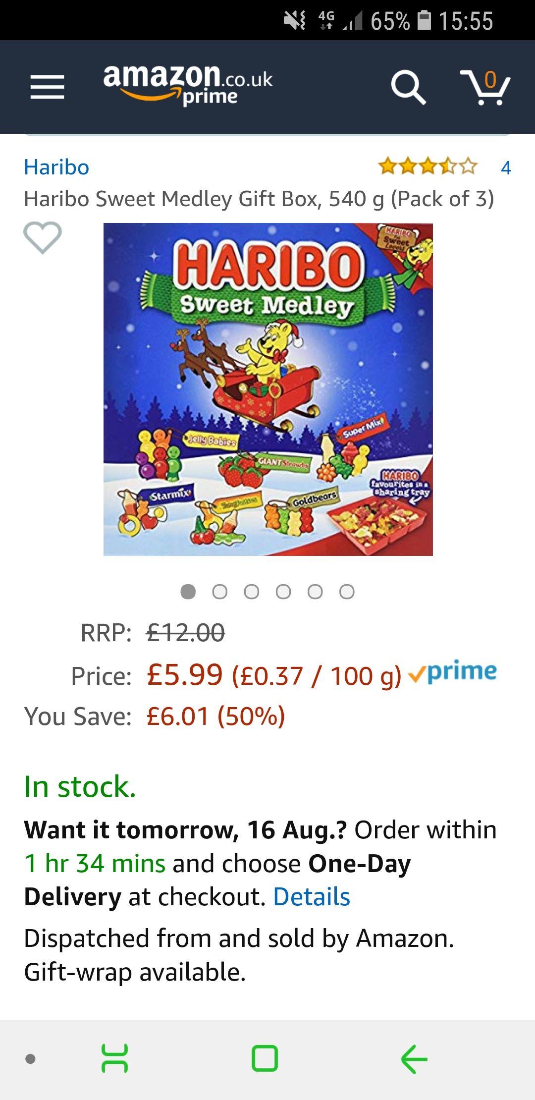 Haribo Sweet Medley Gift Box, 540 g (Pack of 3) £5.00 prime / £10.48 non prime @ Amazon