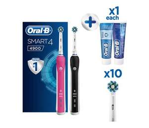 Twin Pack Oral-B Smart 4900 Electric Toothbrush with 10 heads £72.99 at Argos