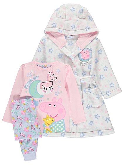 Peppa Pig Pyjamas and Dressing Gown Set £14 @asda george