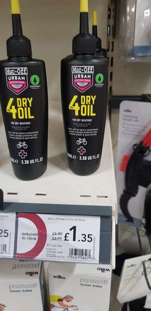 Muc-off 4 Step Dry Oil 50ml - £1.35 instore @ Wilko (Slough)