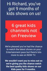 Now TV 9 months kids pass for free (account specific - via email)