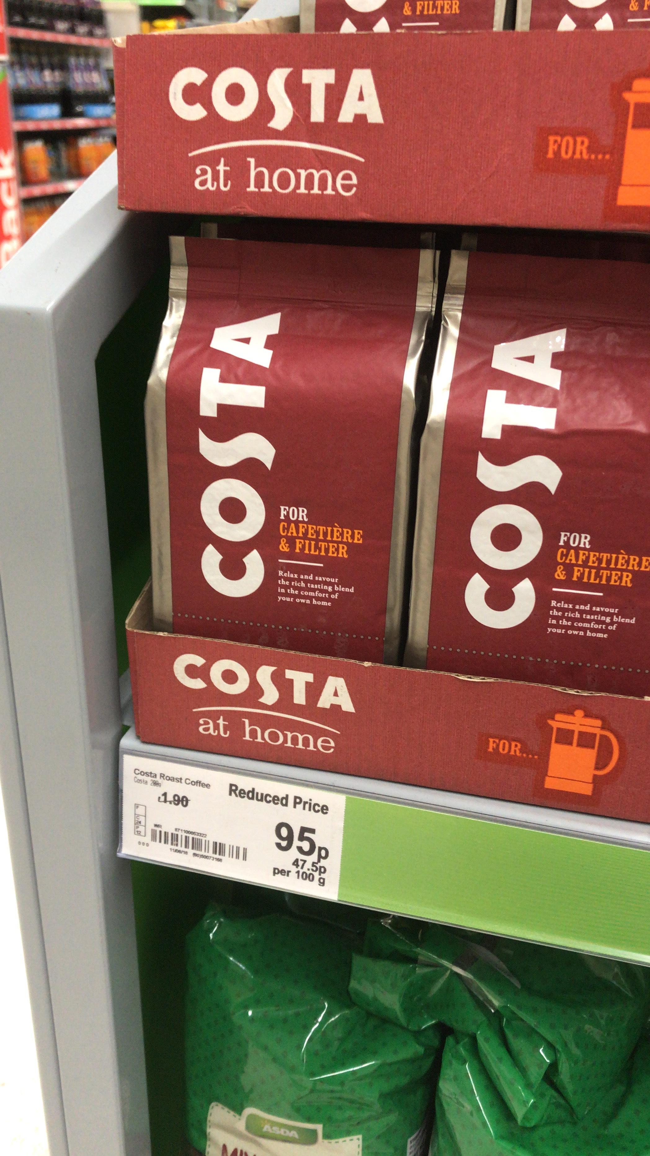 Costa filter coffee - 95p instore @ Asda