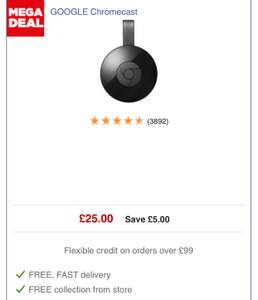 Google Chromecast 2nd generation £25.00 @ Currys / Argos / google store / AO / ASDA [Free Delivery or click & collect] ***UPDATED***
