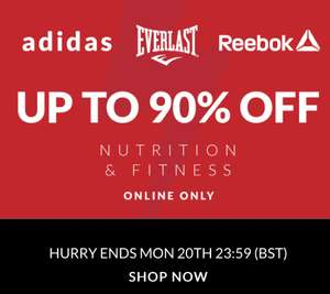 Nutrition and Fitness Flash sale at Sports direct examples in post items from £1 plus p&p