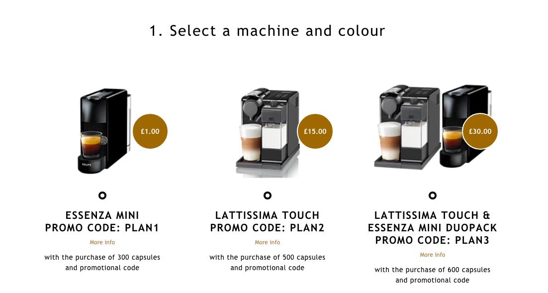 Nespresso Essenza Mini for £1, Nespresso Lattissima Touch for £15, Both for £30