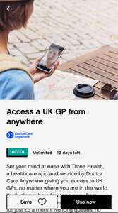 THREE CARE - Doctor Care Anywhere £5 p/m for 6 months WUNTU DEAL