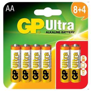 GP Ultra  AA Ultra Alkaline Battery 12 Pack £2.99 - Toolstation instore