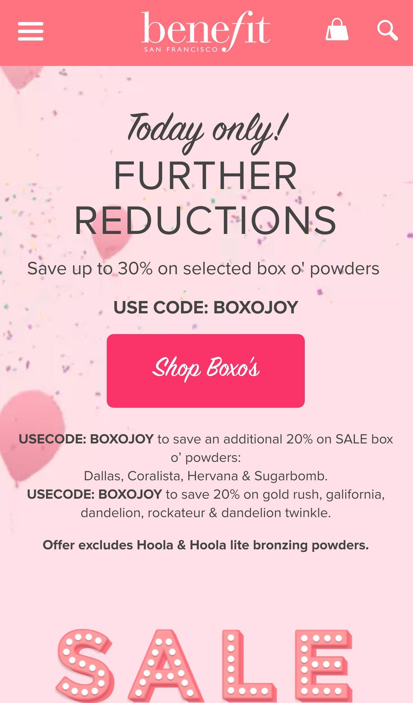 Benefit Cosmetics - Save 30% on Box O' Powders