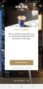 Free iced drink when you invite a friend to use caffe nero app