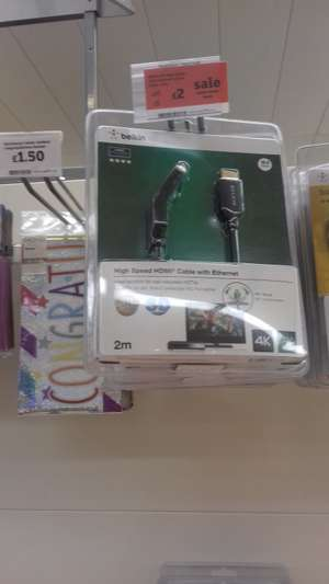 Belkin 2m High Speed HDMI Cable with Ethernet £2.00 @ Sainsbury's - Ellesmere Port