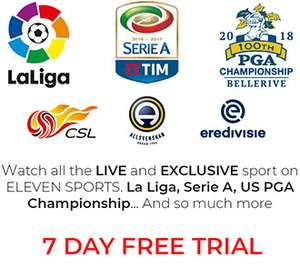 7 day trial of Eleven Sports (New home of La Liga football)
