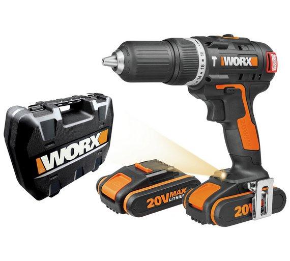 WORX Cordless Brushless Hammer Drill with 2 20V Batteries £79.99 @ Argos